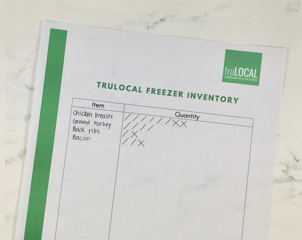 Printable truLOCAL Freezer Inventory Template